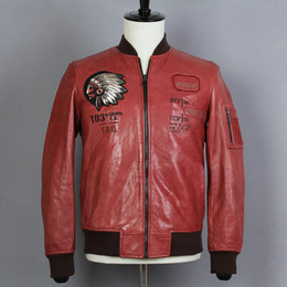 439316a28 Avirex fly Sheepskin Indian Chief Embroidery Pattern Genuine Leahter Jacket  Men Baseball Coat Real Leather Motorcycle Clothing