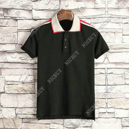 ClassiC white t shirts online shopping - summer designer brand clothing men polo classic style stripe embroidery fabric letter print t shirt casual turn down collar tee shirt