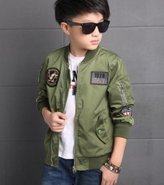 kids army jackets NZ - 2020 Fashion Spring Autumn Jackets For Boy Coat Bomber Jacket Army Green Boy's Windbreaker Jacket Letter Print Kids Children Jacket Age 3-13