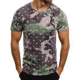 camouflage print blouse 2019 - 2019 Summer Men Short Sleeve Print Camouflage Casual Slim Blouse T-hawaiian shirt Top men's shirt camisa masculina