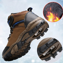 shoe laces for kids 2020 - Winter Snow Kids Hiking Shoes Boys Girls Outdoor Sneakers for Children Leather Waterproof TPR Non-slip Warm Sports Shoes