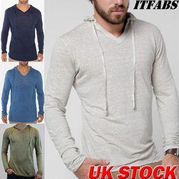 plain cotton tee shirts 2019 - Hirigin Brand Luxury Men Jogger Sweatshirt 2019 New Heavy Cotton Long Sleeve Shirt Casual Plain Tee Sport Activewear Hoo