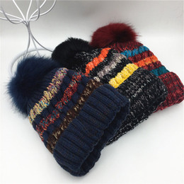 Wholesale MAXSITI U new autumn winter stripes skullies wool hat Men and women more warm thermal knitted cap