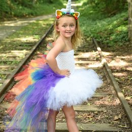 $enCountryForm.capitalKeyWord Australia - Cheap Baby Girls Easter Halloween Cosplay Party Prom Dresses kids boutique baby girl clothes Unicorn Princess Dress with Rainbow Back