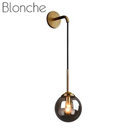 gold wall lamps bedroom UK - Blonche Modern Wall Lamp E27 Gold Wall Sconce Lights for Home Living Room Bedroom Kitchen Decor Loft Industrial Glass Fixtures