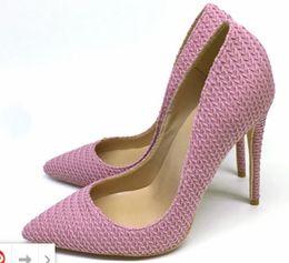 $enCountryForm.capitalKeyWord Australia - new Pink Weave Women's Red Bottom pointed Fine-heeled High-heeled Shoes Shallow mouth Single Shoe Big code 34-45 Heel height 8cm 10cm 12cm
