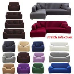 1 2 3 4 Seater Sofa Cover Polyester Solid Color Non-slip Couch Cover Stretch Furniture Protector Living Room Sofa Slipcover on Sale