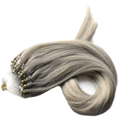 $enCountryForm.capitalKeyWord UK - Micro Loop Ring Human Hair Extensions Micro Ring grey Hair 100g pack Remy Pre Bonded Hair Extension