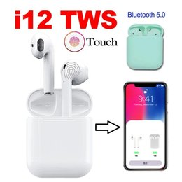 Chinese Autos Australia - Bluetooth V5.0 i12 TWS Earbuds Upgrade Auto-POP-UP Window Touch Wireless Sport Earphones Bass Stereo With Charging box For iPhone Samsun