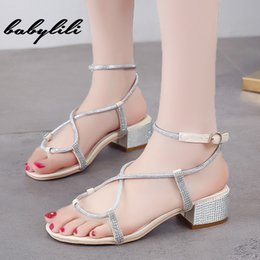$enCountryForm.capitalKeyWord Australia - Summer Ankle Strap Dress Wedding Sandal Shoes Woman 2019 New Sexy Crystal Sliver Sandals Women Sandals Square Heel Fashion