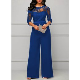 jumpsuits one leg Australia - Lace Jumpsuits for women 2018 Autumn Sexy High Waist Palazzo 3 4 Sleeve One Piece Peplum Rompers with Long Wide Leg Pant Y200106