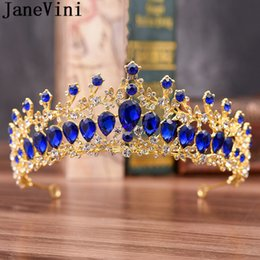 JaneVini Sparkly Crystal Tiara Crown Fascia da sposa Wedding Royal Blue Donne Copricapo Prom Princess Crown Diademi Capelli Sposa gioielli in Offerta