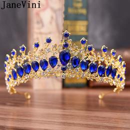 Venta al por mayor de JaneVini Sparkly Crystal Tiara Crown nupcial diadema boda Royal Blue mujeres tocado Prom Princess Crown Tiaras pelo novia joyería