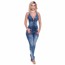 f9ec058069e Womens Jeans Jumpsuits Denim Long Pants Sexy Deep V Neck Slim Overalls  Jumpsuit Girl Sleeveless Club Wear Bodysuit Romper Zipper