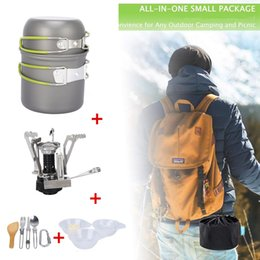 hiking outdoor cookware NZ - Outdoor Camping Trip Cookware Aluminum Alloy Hiking Picnic Tourist Tableware Set With Folding Spoon Fork Gas Stove Pot Pan