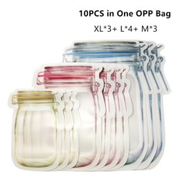 plastic folding Australia - 10pcs Lot PE Mason Jar Shaped Zipper Storage Bag Reusable Plastic Airtight Food Container Sealing Snack Freshness Saver Nuts Cookies Fold