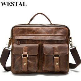 $enCountryForm.capitalKeyWord Australia - Westal Men's Briefcase Work office Bags For Men Genuine Leather Messenger Laptop Bag Leather Business Briefcase Bag For Document Y19051802