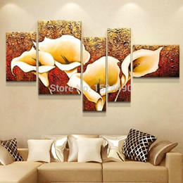 Golden Flowers Pictures Australia - 5 Pcs 100% Hand-painted Autumn Golden Lily Flower Oil Painting On Canvas Wall Decor Pictures Art Home Decoration For Living Room