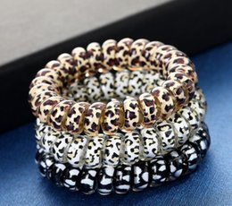 telephone cord hair UK - Women Girl Telephone Wire Cord Gum Coil Hair Ties Girls Elastic Hair Bands Ring Rope Leopard Print Bracelet Stretchy Hair Ropes 100pcs DHL