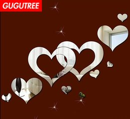 large decals mirrors NZ - Decorate Home 3D love heart cartoon mirror art wall sticker decoration Decals mural painting Removable Decor Wallpaper G-379