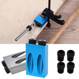 6/8 / 10mm Pocket Hole Jig Kit legno Angle Drill Guida Set 8pcs Punzonatrice Locator Jig Punta di trapano per carpenteria Strumento in Offerta