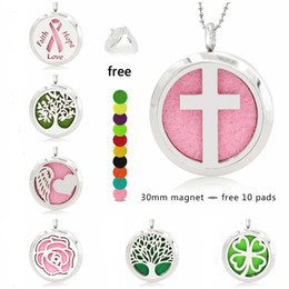 $enCountryForm.capitalKeyWord Australia - cross heart wing ribbon 30mm Magnet Stainless Steel Diffuser Necklace Pendant Essential Oil Aromatherapy Perfume locket 10 Pads (no chain)