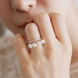 Ring double peaRl online shopping - double layer elegant simulated pearl Rings For Women gold color new fashion cute gift