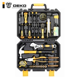 $enCountryForm.capitalKeyWord Australia - Cheap Hand Sets DEKO TZ100 Socket Wrench Set Auto Repair Mixed Tool Combination Package Hand Tool Kit with Plastic Toolbox