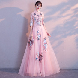 celebrities lace maxi dress 2019 - Women Long Evening Dress Floral Lace Embroidery Mesh High Stand Neck Maxi Formal Prom Gown Party Dresses Celebrity Weddi