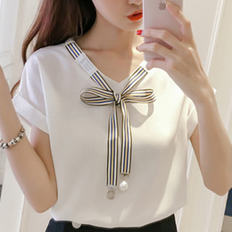 Cool korean Clothing online shopping - And Womens Tops Blouses De Moda Cool Ladies Korean Style Chemisier Femme Cap Sleeve Fashion Clothing Summer Female Bow
