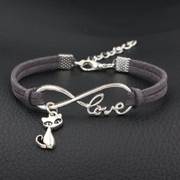 $enCountryForm.capitalKeyWord Australia - 2018 New Women Men Fashion Infinity Love Cats Fox Pendant Bracelets Bangles Handmade Dark Gray Leather Suede Rope Jewelry For Girl Boy Gifts