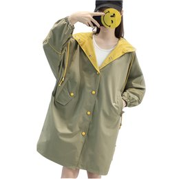 Korean green jacKet online shopping - 2019 spring and autumn new Korean medium long Harajuku BF jacket female students loose wild chic port windbreaker women s tide