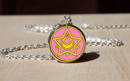 $enCountryForm.capitalKeyWord Australia - Handmade Sailor Moon Star Locket Necklace, Glass dome Pendant, gift for Her Him,fashion Necklace jewelry