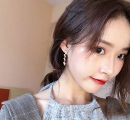 Alphabet Blocks Australia - Geometric block stitching Earrings female chic wind personality delicate Zircon Earrings Earrings