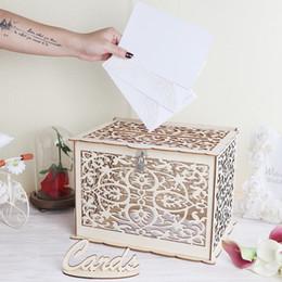Discount box locks - Our Warm Elegant Wedding Card Box Wedding Money Box Wooden Card Box with Lock for Rustic Wedding