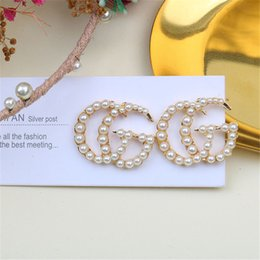 letter g pendant 2019 - INS Fashion Pearl Earrings Trendy Letter Design Women G Studs Party & Banquets Charm Pendant Earring Jewelry cheap lette
