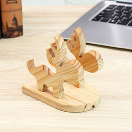 Tablet Stand Wood Australia - Cell Phone Stand Bamboo Wood Phone Holder and Cute Moose Phone Stand for Samsung iPhone Ipad and Tablets Bamboo Desk Organizer Accessories