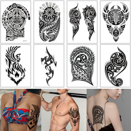 art arm Australia - Fake Black Design Totem Tattoo Sickle Phoenix for Woman Man Cool Decal Waterproof Temporary Tattoo Sticker Body Art Shoulder Arm Leg Back 3D