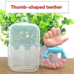 baby grasping rattles Australia - With Storage Box Rattle Thumb Teether Baby Thumb Hand Grasping Tooth Stick Finger Shape Teether