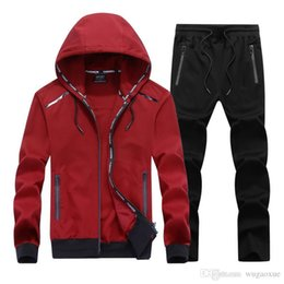 $enCountryForm.capitalKeyWord Australia - 2019 NEW Fashion Spring Autumn Men Sporting Suit Set Hooded Jacket+Pant Sportswear 2 Piece Set Tracksuit For Men Clothes L-9XL