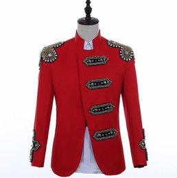 Costumes for singers online shopping - Hip hop blazer men suits designs jacket mens stage costumes for singers clothes dance star style dress punk rock masculino red