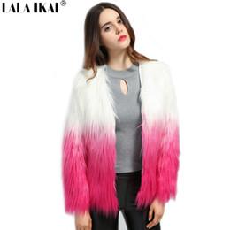 3cb8087e174d6 Plus Size 4XL Winter Warm Faux Fur Coat Women Casual Long Hair Patchwork  Gradient Color Thick Short Fur Jacket Female SWQ0338-45
