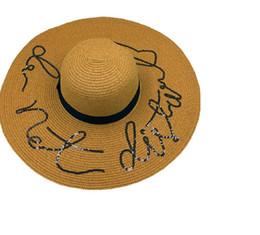 $enCountryForm.capitalKeyWord Australia - Women Foldable Floppy Letters Sequin Embroidery Straw Sun Hat Summer Wild Large Brim With Ribbon Trim Beach Cap UV Protection
