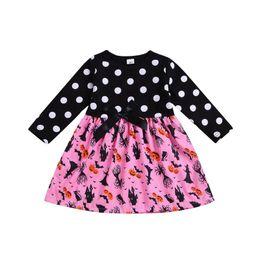 $enCountryForm.capitalKeyWord UK - New design children girl dress Halloween cartoon long sleeve dot pumpkin monster printed dress free shipping
