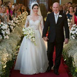 Images Brooch Flowers Australia - 2019 Romantic Vestido De Noiva High Lace Appliques Full Sleeve Long A Line Wedding Dresses Bride Dress Fashionableidery Custom Made