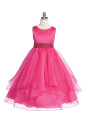 $enCountryForm.capitalKeyWord UK - 2019 Stunning A Line Fuchsia Flower Girl Dresses Jewel Neck Organza Beaded Layered Kids Pageant Dresses Girls Party Gowns