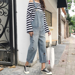 Wholesale womens wind pants resale online – Spring and Summer New Korean Version of Loose College Wind with Holes Jeans Straight Cylinder Belt Pants Womens Trousers