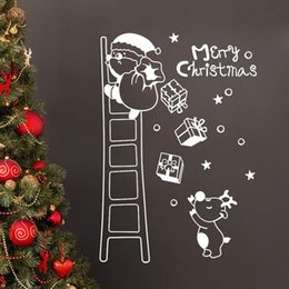 white christmas window stickers NZ - Merry Christmas Wall Sticker Santa Climbing Ladder Red White Black Showcase Window Door Background Xmas New Year Wall