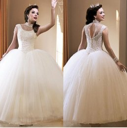 $enCountryForm.capitalKeyWord Australia - Crystals Beaded Ball Gown White Organza Quinceanera Dresses 2019 Featuring Crew Neckline Capped Sleeve Keyhole Back Girls Prom Dress