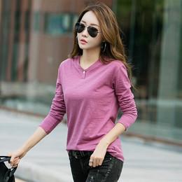 T Shirt Woman Korea Australia - Gigogou Long Sleeve Women T Shirt 2019 Spring Autumn 95% Cotton Tshirt With Button Korea Casual Style Ladies T-shirt Y19042101